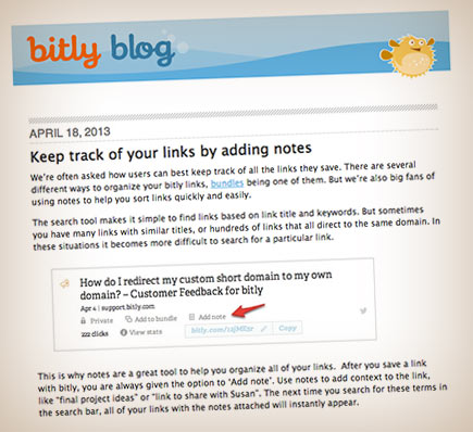 Keeping track of links in bitly